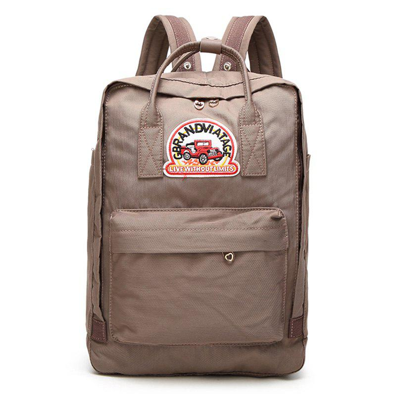 Car Letter Embroidery Backpack - KHAKI VERTICAL
