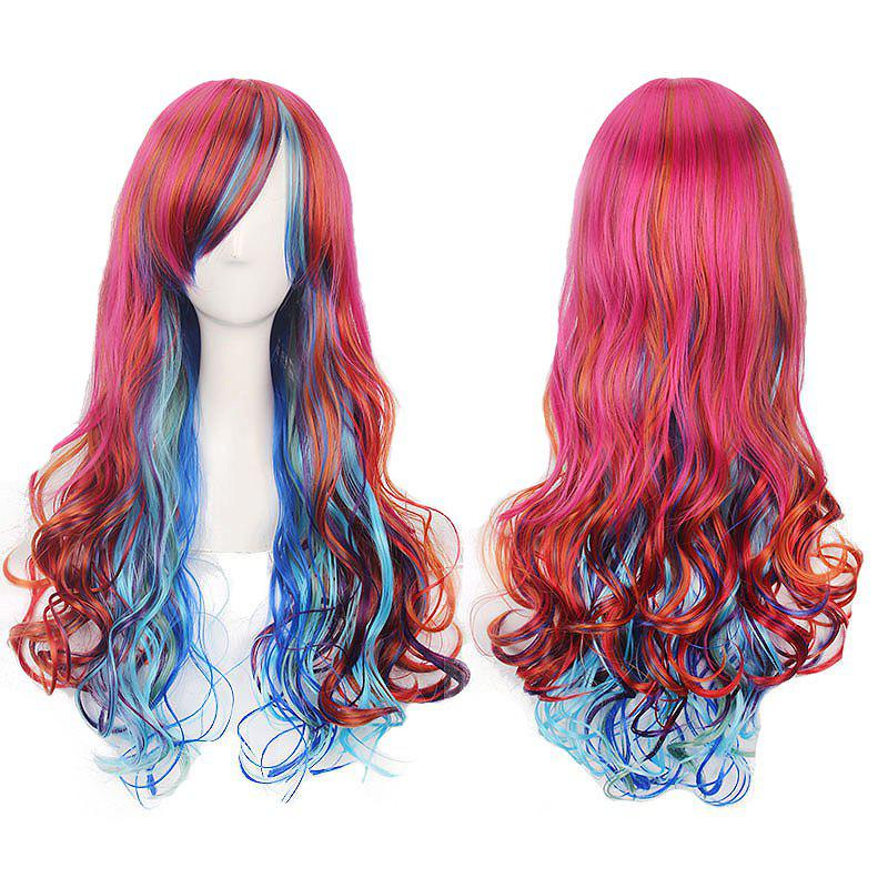 Colorful Harajuku Long Side Bang Curly Lolita Cosplay Wig - COLORFUL