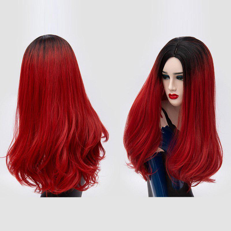 Long Middle Part Fluffy Ombre Slightly Curly Synthetic Party Wig - BLACK/RED