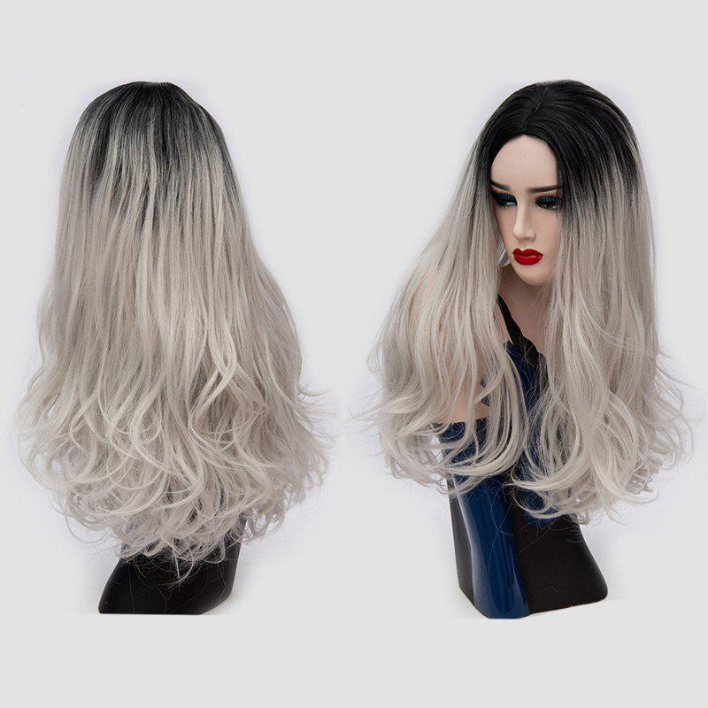 Long Middle Part Fluffy Ombre Slightly Curly Synthetic Party Wig - SILVER GRAY