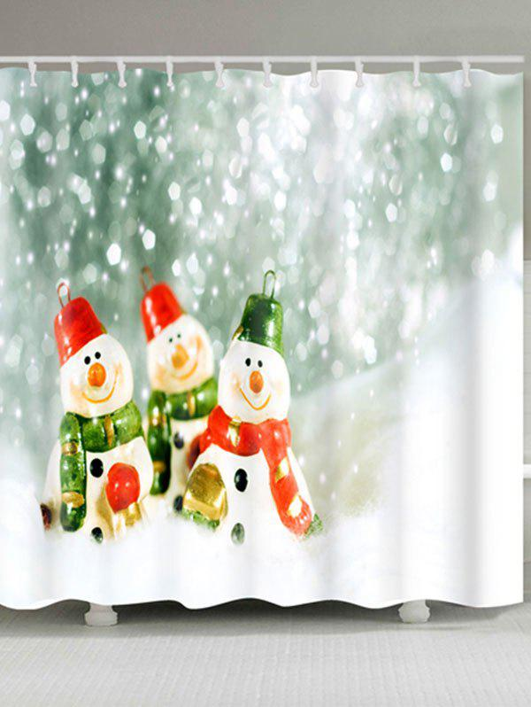 Three Snowmen Printed Christmas Waterproof Shower Curtain - COLORMIX W59 INCH * L71 INCH