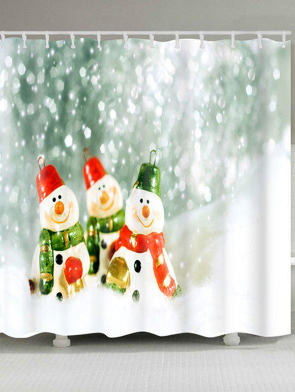 Three Snowmen Printed Christmas Waterproof Shower Curtain - COLORMIX W71 INCH * L71 INCH