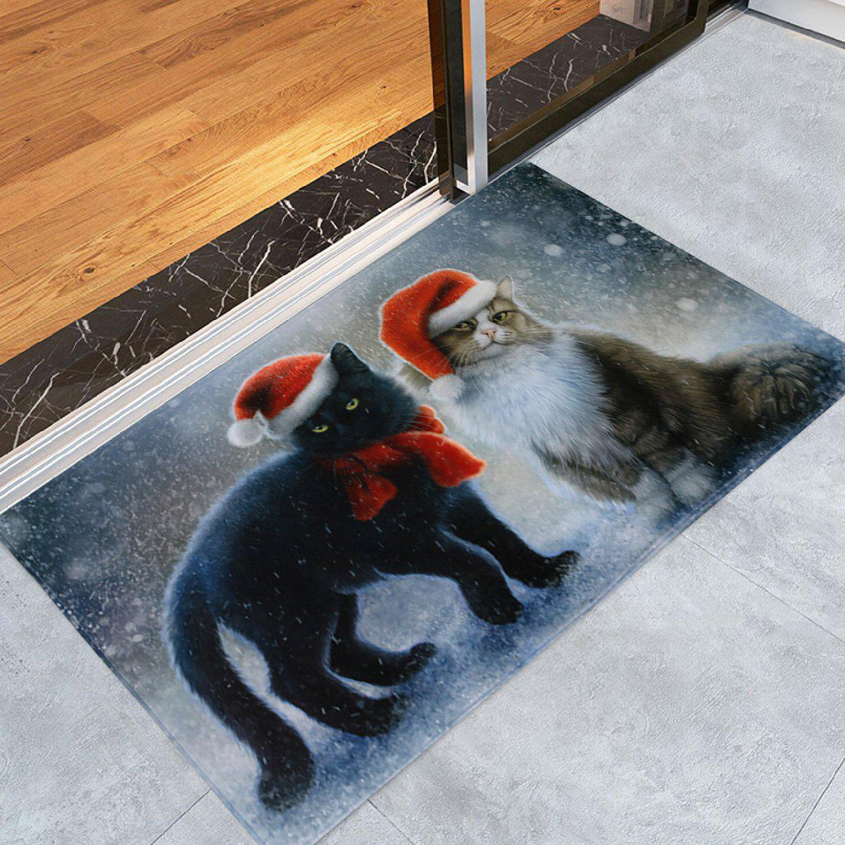 Christmas Cats Pattern Indoor Outdoor Area Rug - COLORMIX W16 INCH * L24 INCH