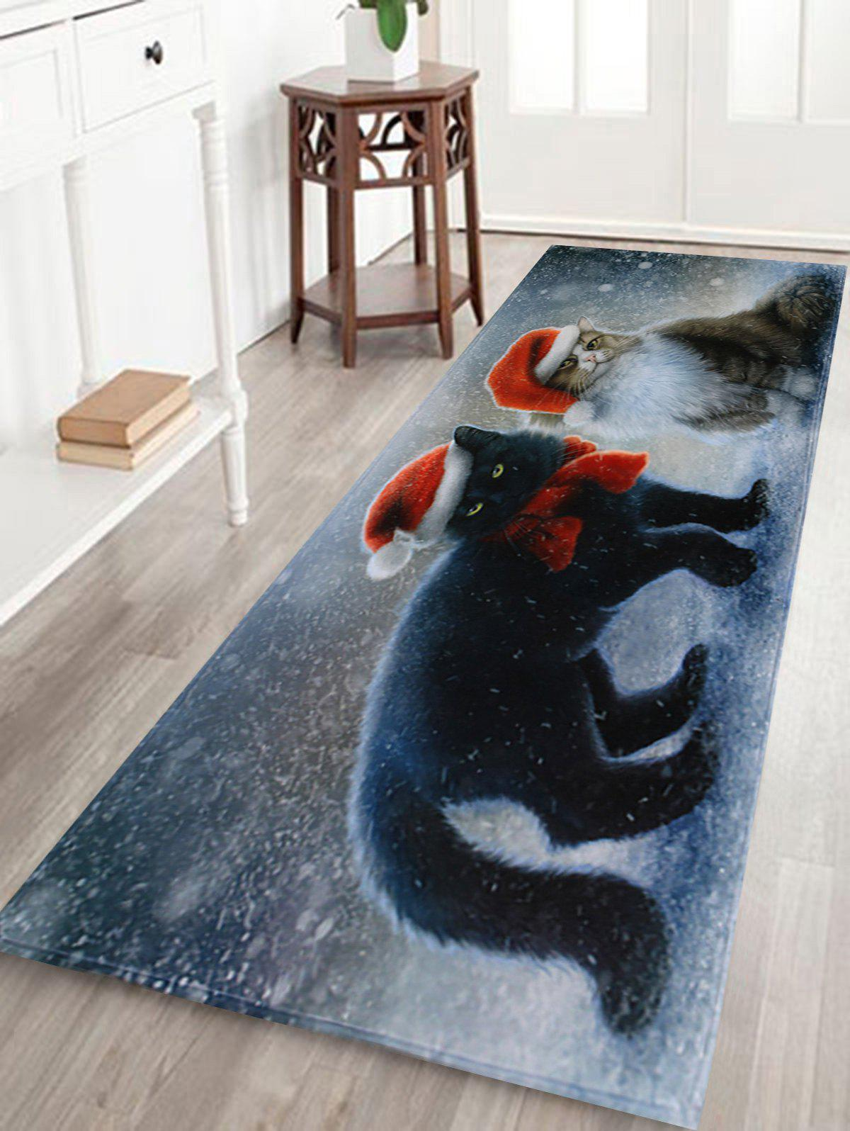 Christmas Cats Pattern Indoor Outdoor Area Rug - COLORMIX W16 INCH * L47 INCH