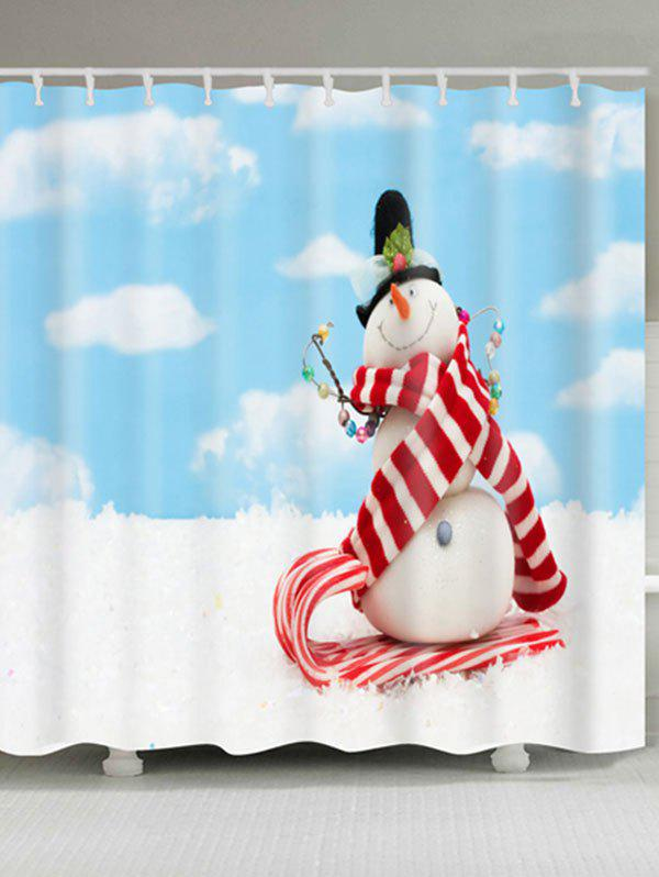 Waterproof Polyester Christmas Snowman Print Bath Curtain - CLOUDY W59 INCH * L71 INCH