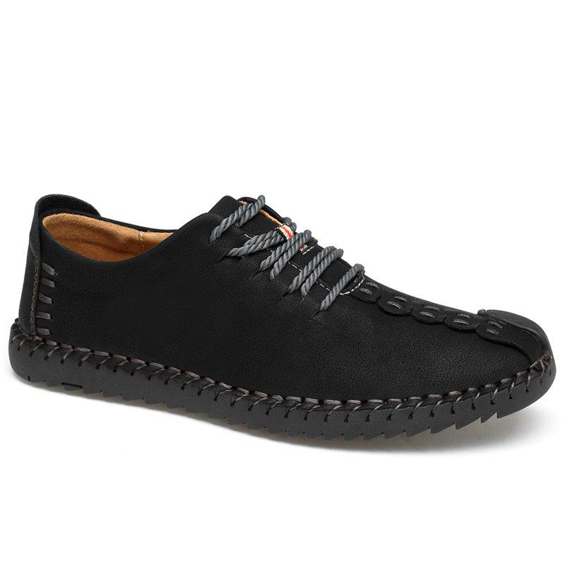 Lace Up Stitching Casual Shoes - BLACK 40