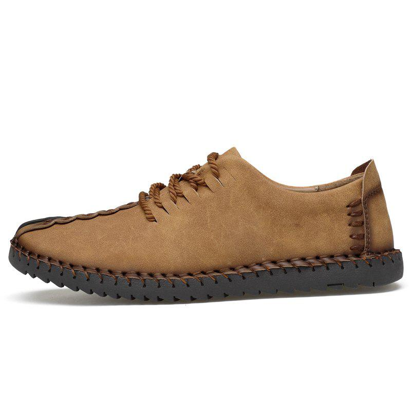 Lace Up Stitching Casual Shoes - EARTHY 41