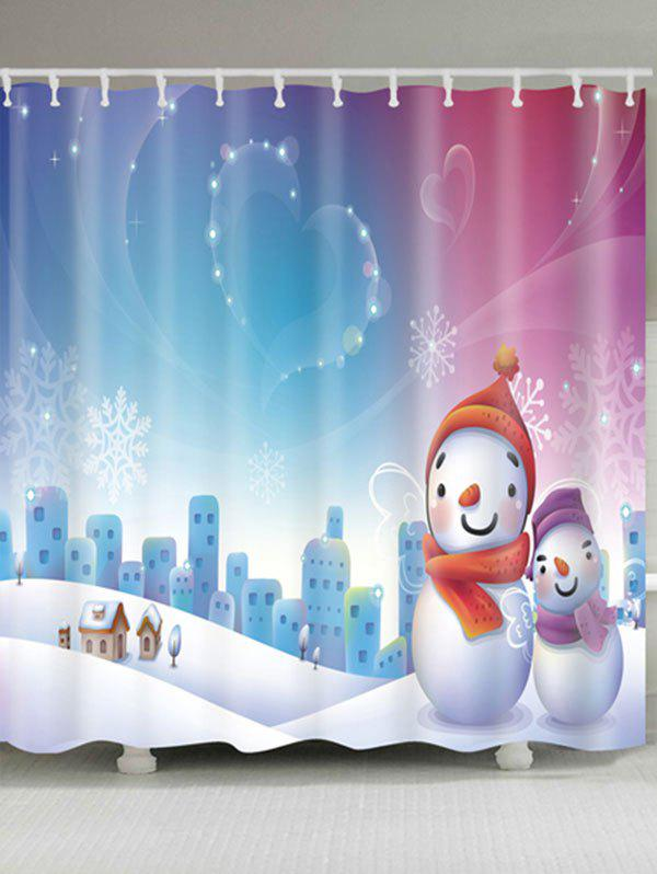Snowman Christmas Snowscape Waterproof Shower Curtain - COLORMIX W71 INCH * L71 INCH