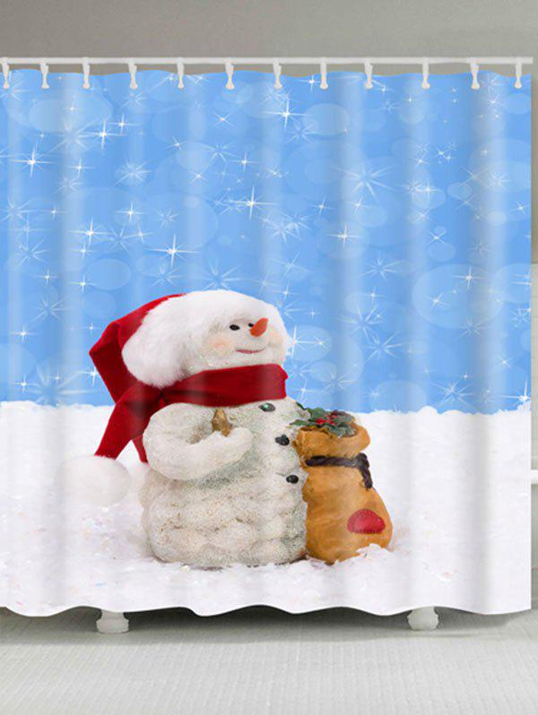 Waterproof Polyester Snowman Christmas Bath Curtain - BLUE/WHITE W71 INCH * L71 INCH