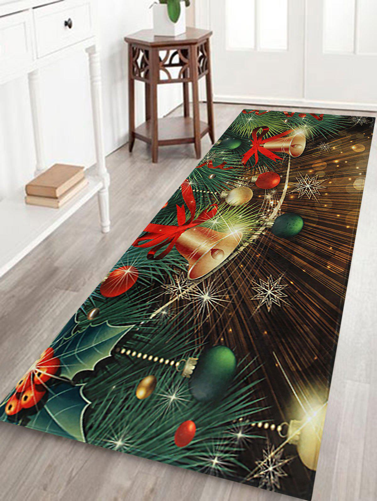 Christmas Bells Baubles Pattern Indoor Outdoor Area Rug - COLORMIX W16 INCH * L47 INCH