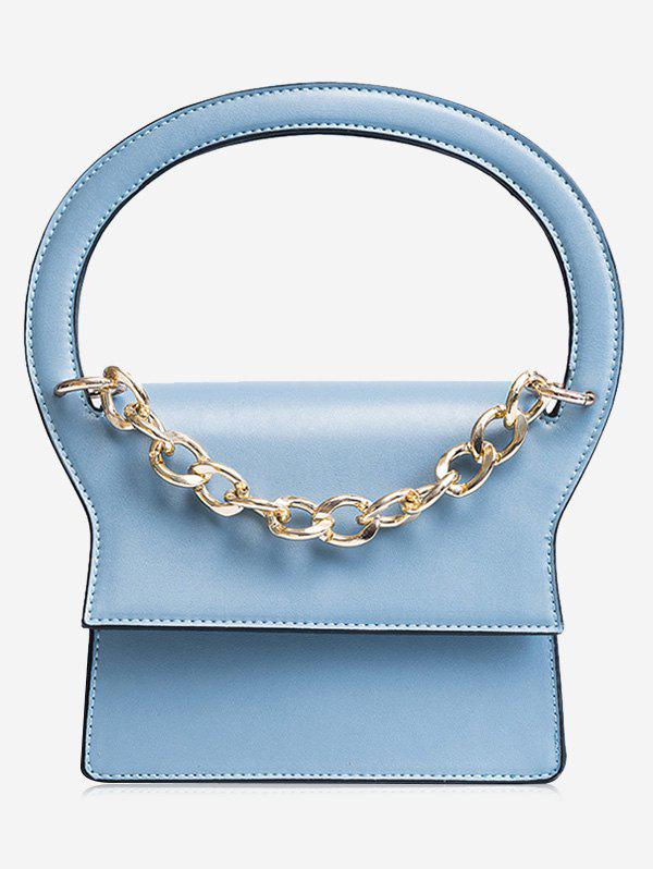 Faux Leather Chain Handbag With Strap - BLUE