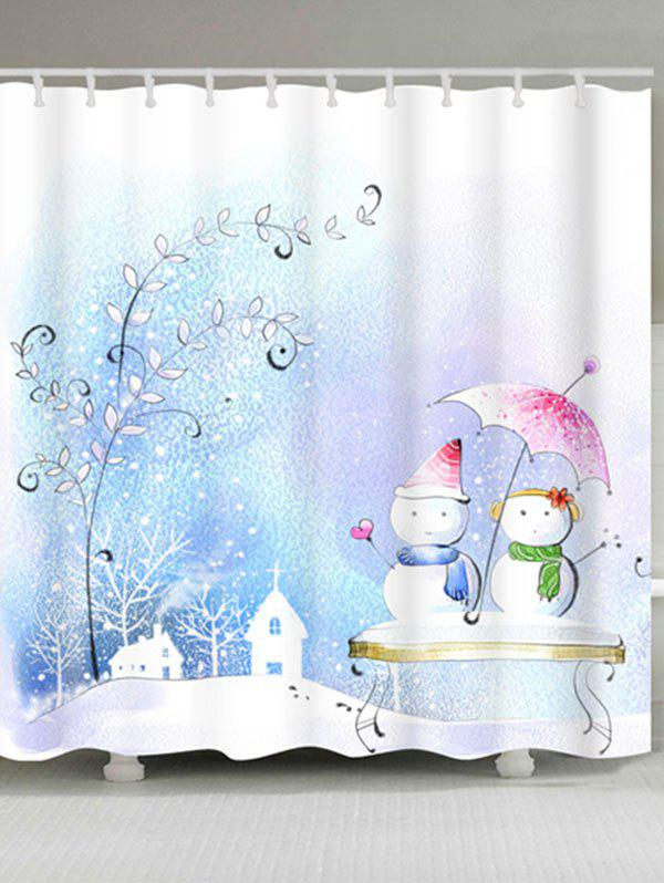 Snowman Couples Printed Waterproof Shower Curtain - COLORMIX W59 INCH * L71 INCH