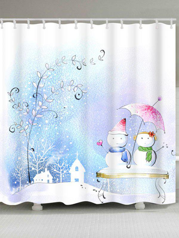 Snowman Couples Printed Waterproof Shower Curtain - COLORMIX W71 INCH * L71 INCH