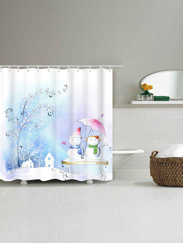 Snowman Couples Printed Waterproof Shower Curtain - COLORMIX W71 INCH * L79 INCH