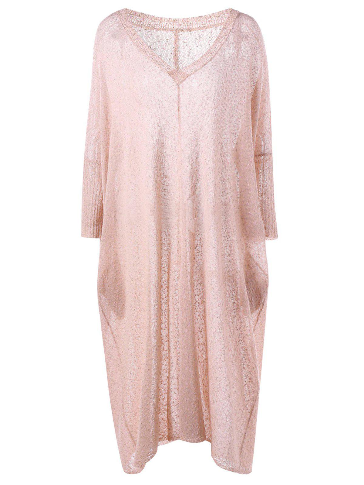 Plus Size V Neck See Thru Longline Sweater - LIGHT PINK XL