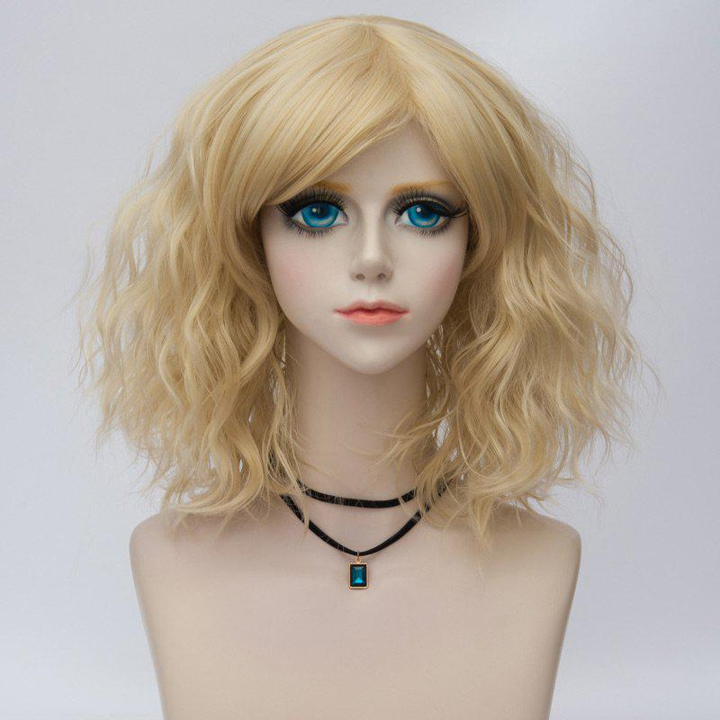 Medium Side Bang Natural Wavy Ombre Synthetic Party Cosplay Wig - LIGHT GOLD