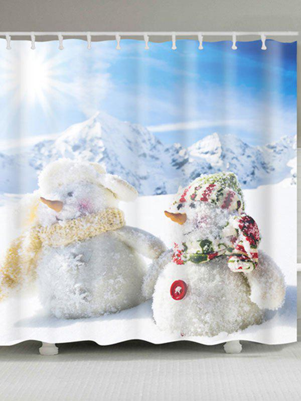 Two Snowmen Print Polyester Waterproof Bath Curtain - WHITE W59 INCH * L71 INCH
