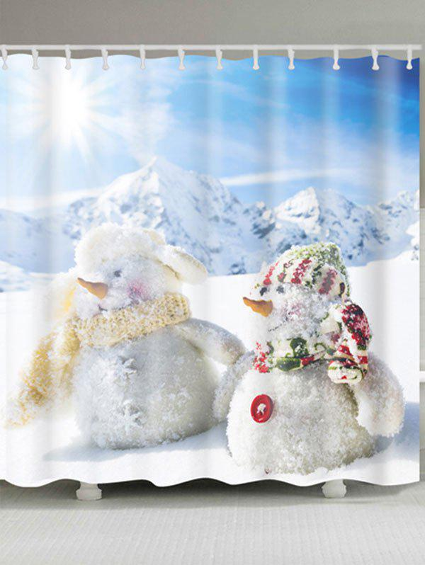 Two Snowmen Print Polyester Waterproof Bath Curtain - WHITE W71 INCH * L79 INCH