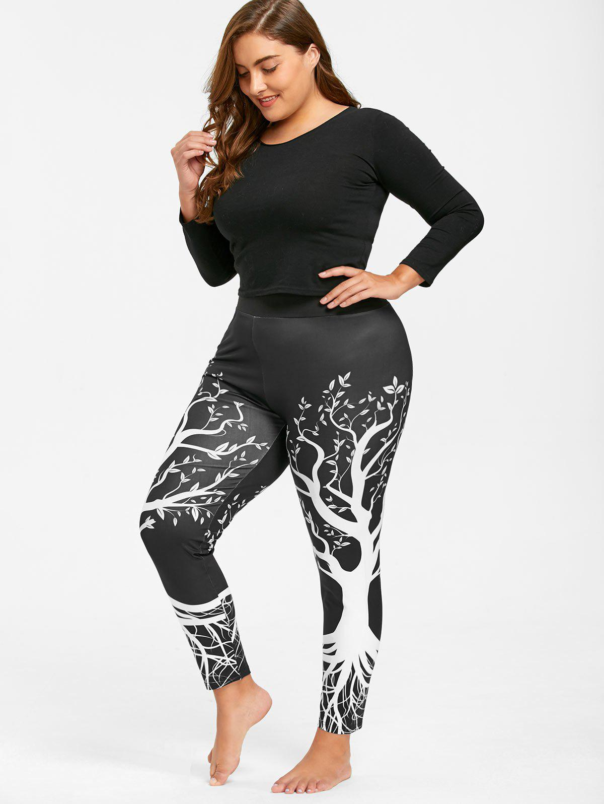 2018 leggings de gym imprim arbre grande taille noir xl in v tements de sport de grande taille. Black Bedroom Furniture Sets. Home Design Ideas
