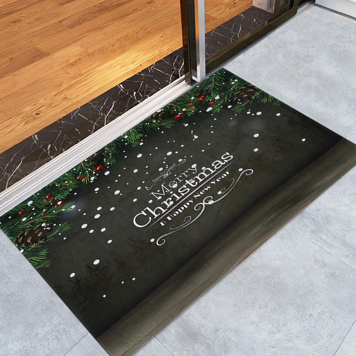 Merry Christmas Printed Coral Fleece Antislip Bath Rug - DARK GREY W16 INCH * L24 INCH