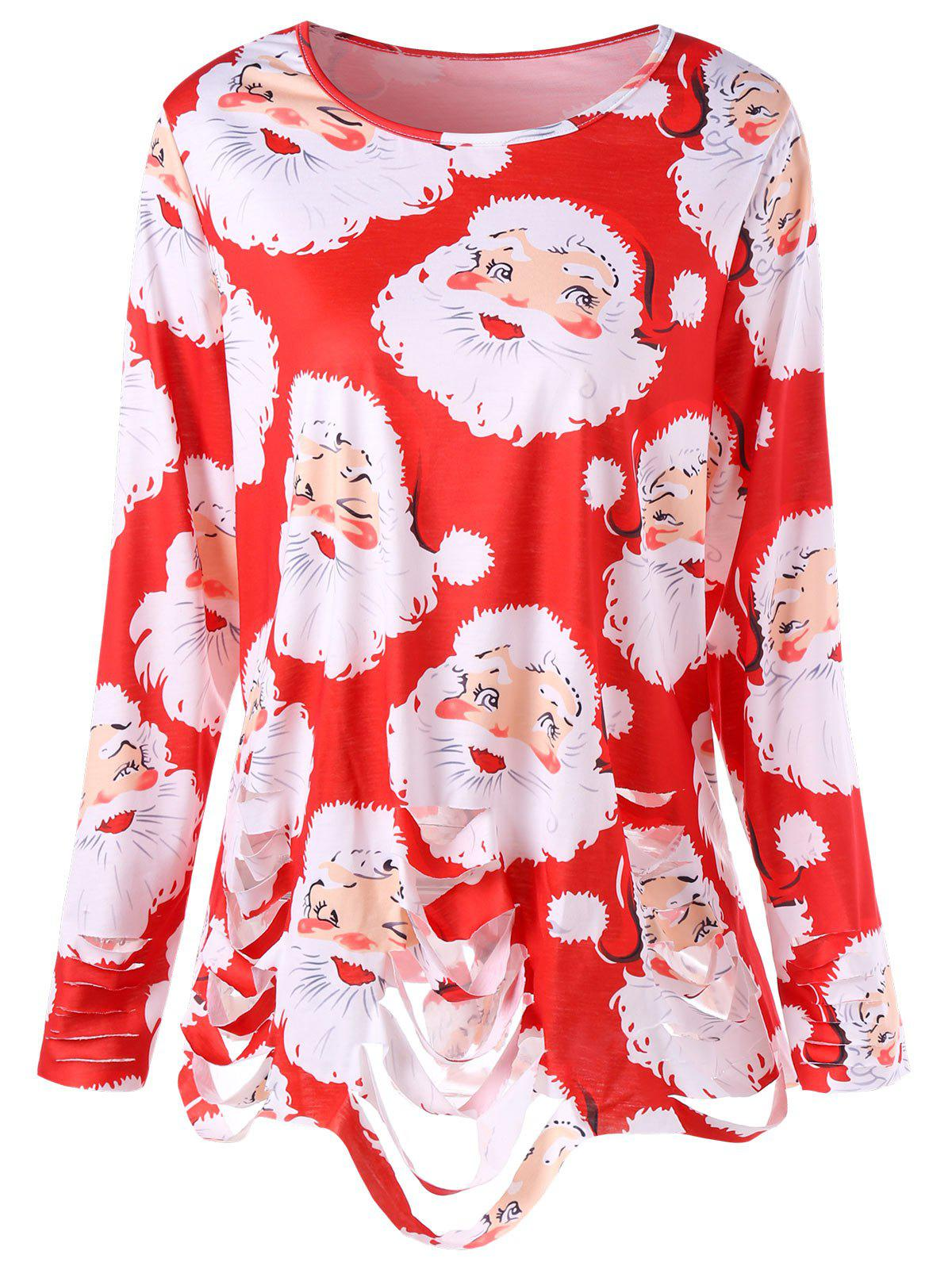 Plus Size Santa Claus Print Ripped Tunic T-shirt - RED 4XL