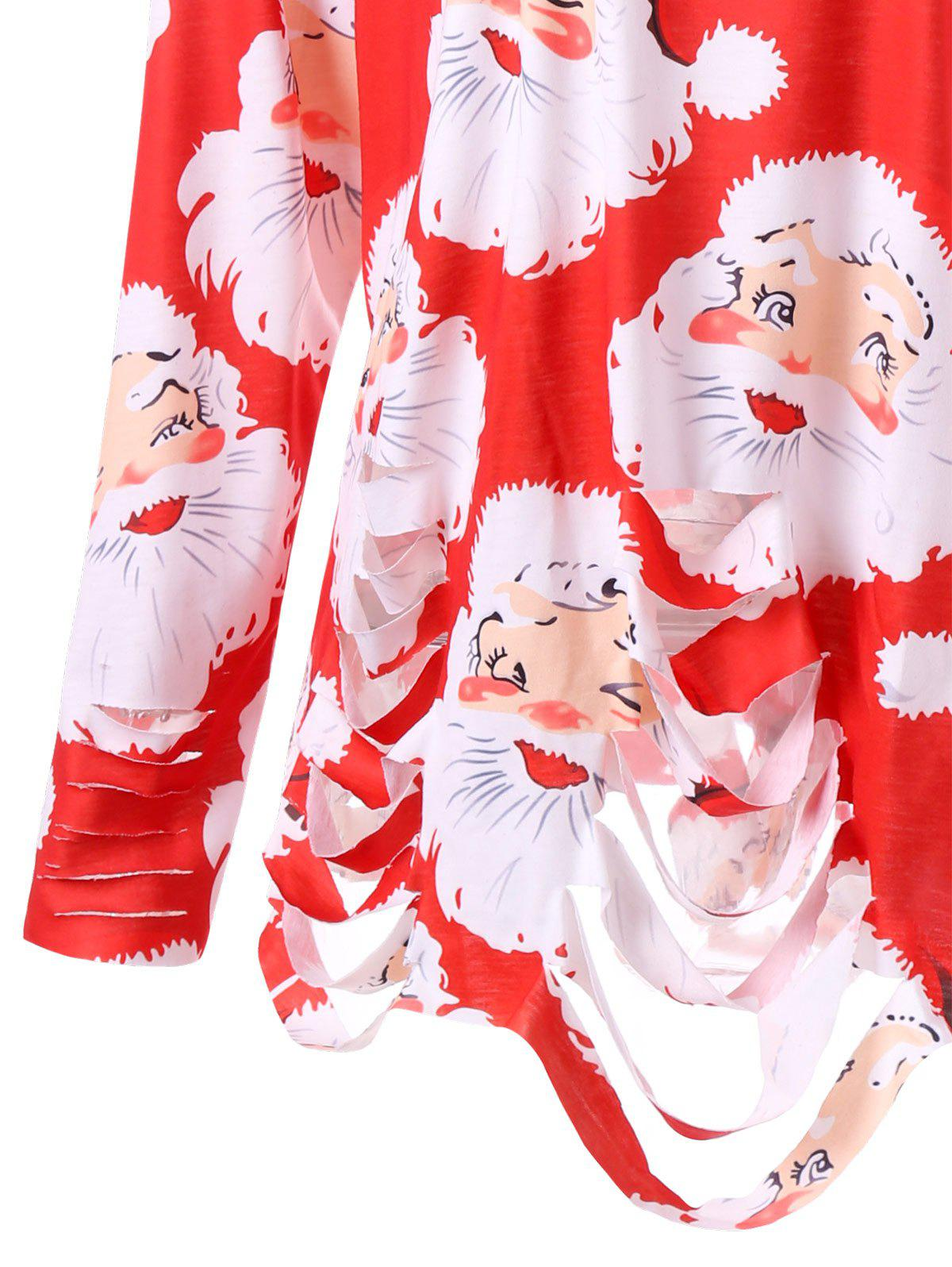 Plus Size Santa Claus Print Ripped Tunic T-shirt - RED XL