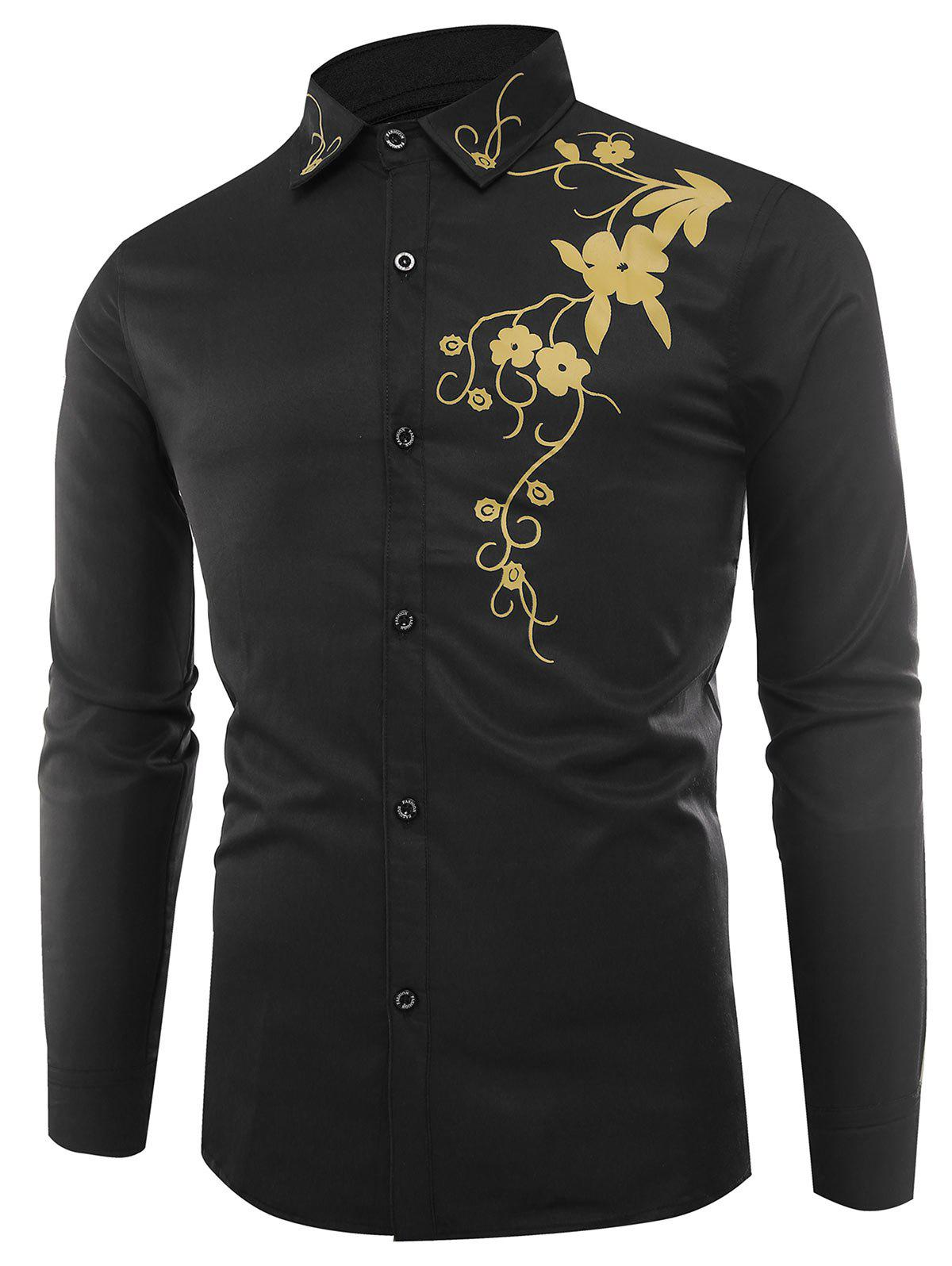 Long Sleeve Flowers Print Shirt - BLACK XL