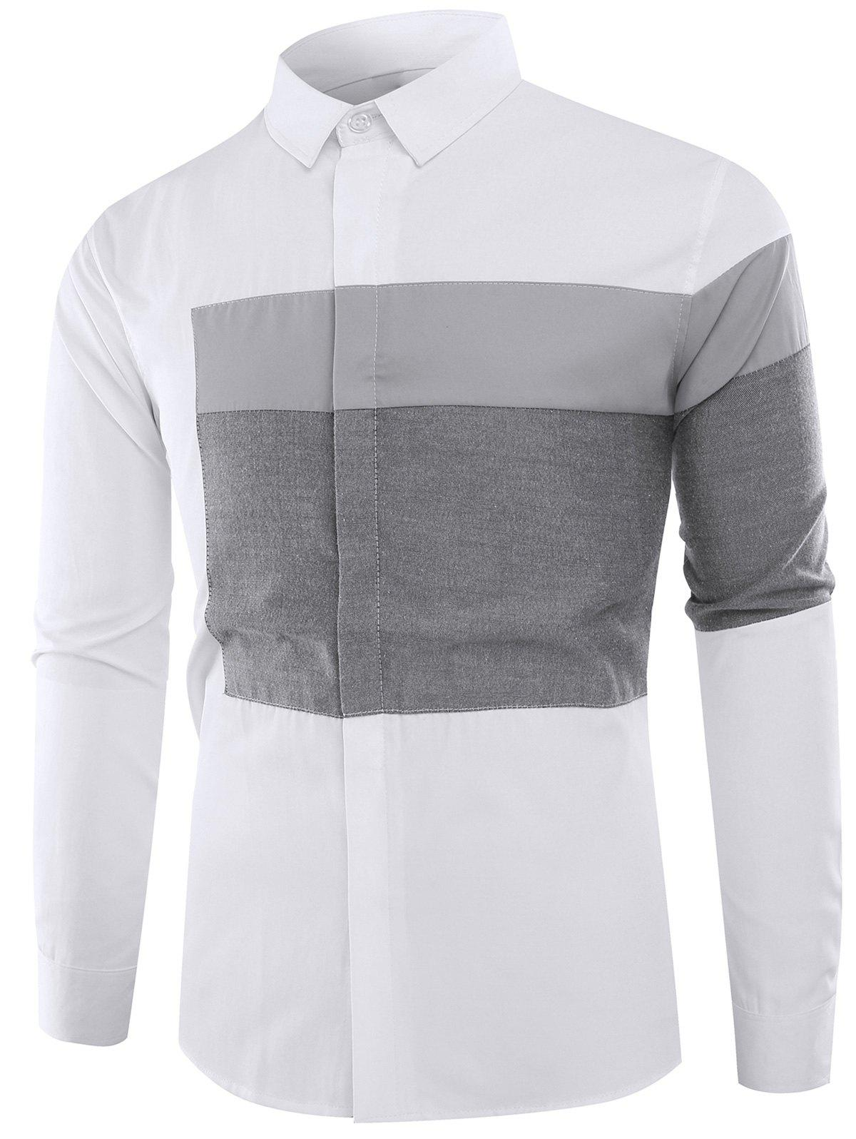 Long Sleeves Color Block Panel Shirt - GRAY 4XL