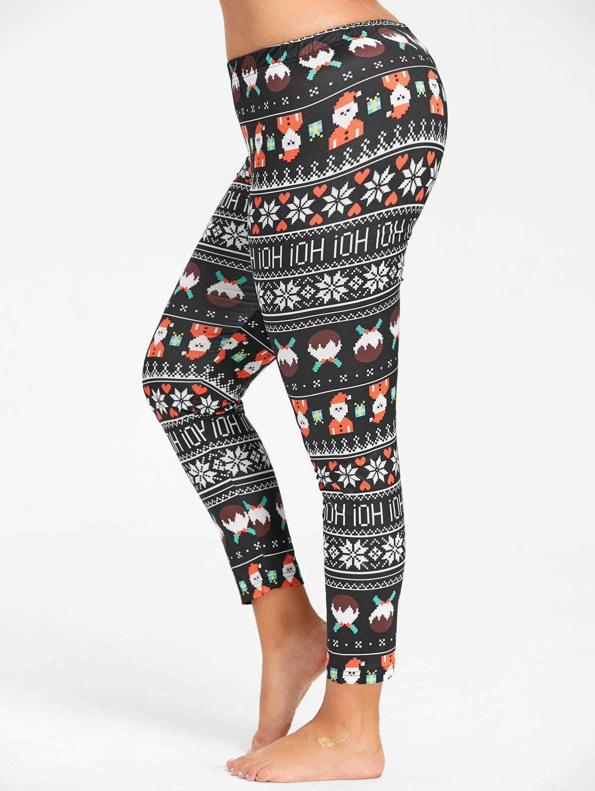 Plus Size Cute Christmas Printed Slim Pants - BLACK 3XL