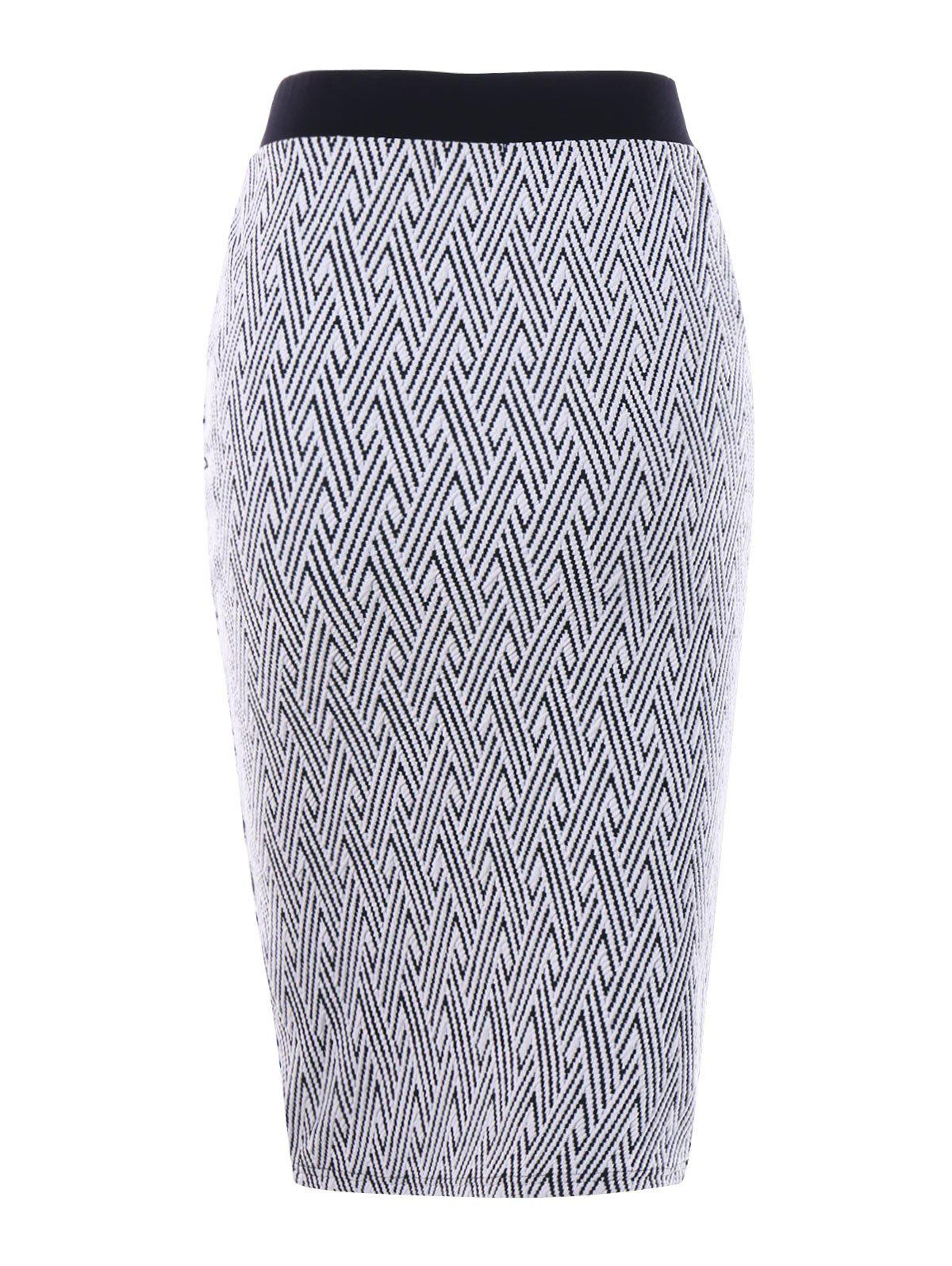 Monochrome Zip Front Pencil Skirt - WHITE/BLACK L