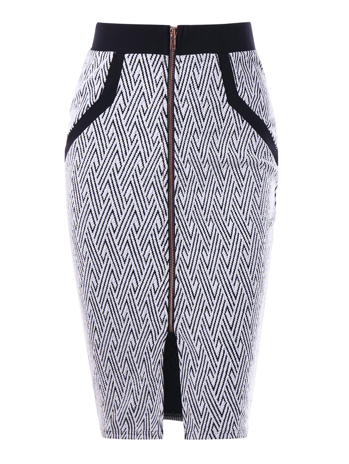Monochrome Zip Front Pencil Skirt - WHITE/BLACK XL