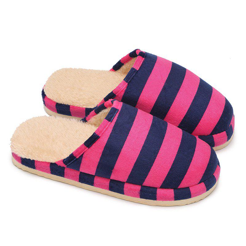 Stripe Faux Fur Padded House Slipper - ROSE RED SIZE(40-41)