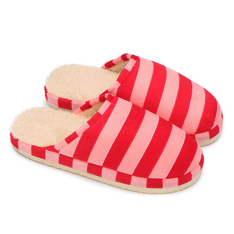 Stripe Faux Fur Padded House Slipper - PINK SIZE(40-41)