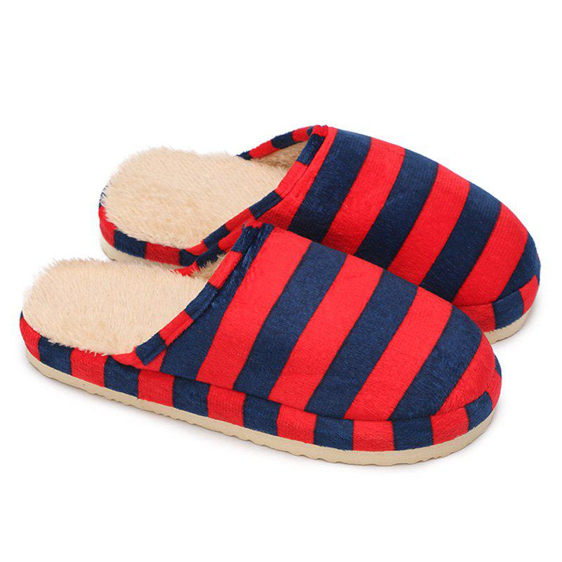 Stripe Faux Fur Padded House Slipper - BRIGHT RED SIZE(36-37)