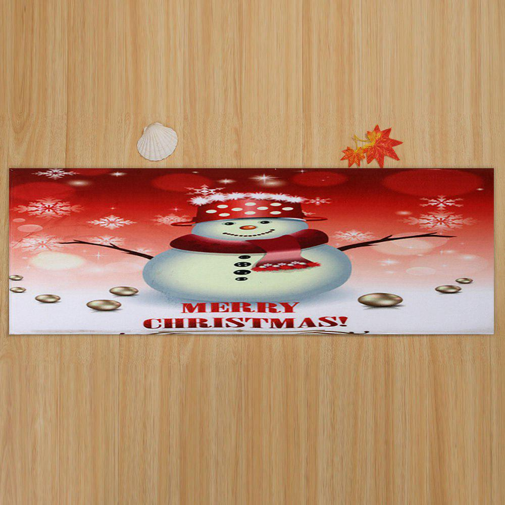 Snowman Merry Christmas Pattern Indoor Outdoor Area Rug - COLORMIX W24 INCH * L71 INCH