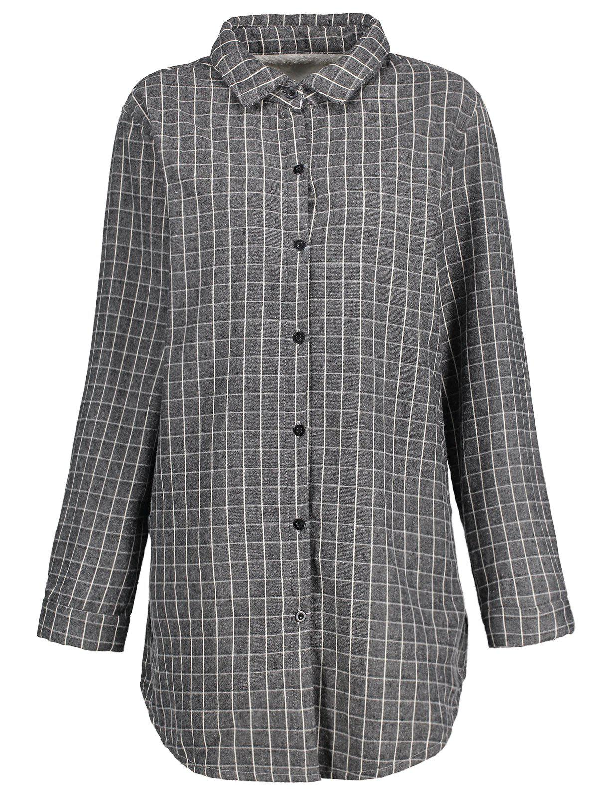 Plus Size Fleece Lined Plaid Shirt - GRAY 3XL