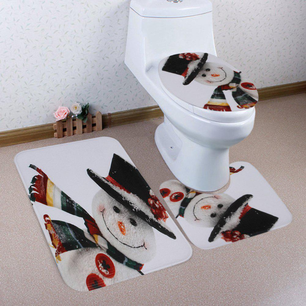 Christmas Smile Snowman Pattern 3 Pcs Toilet Mat Bath Mat - COLORMIX