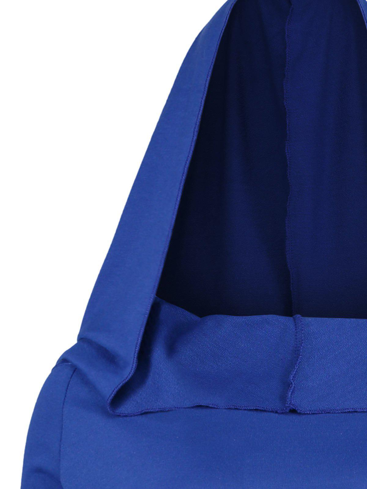 Long Flare Sleeve Plus Size High Low Hoodie - BLUE 4XL