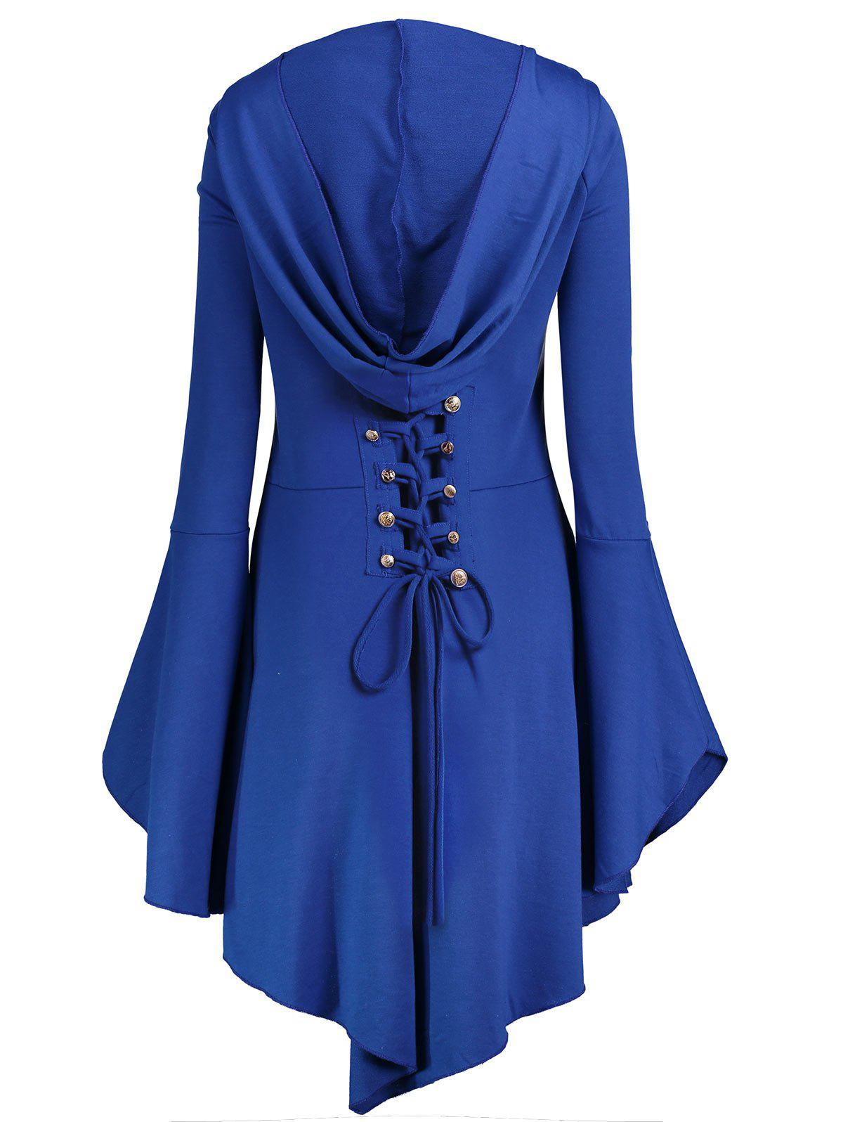 Long Flare Sleeve Plus Size High Low Hoodie - BLUE XL