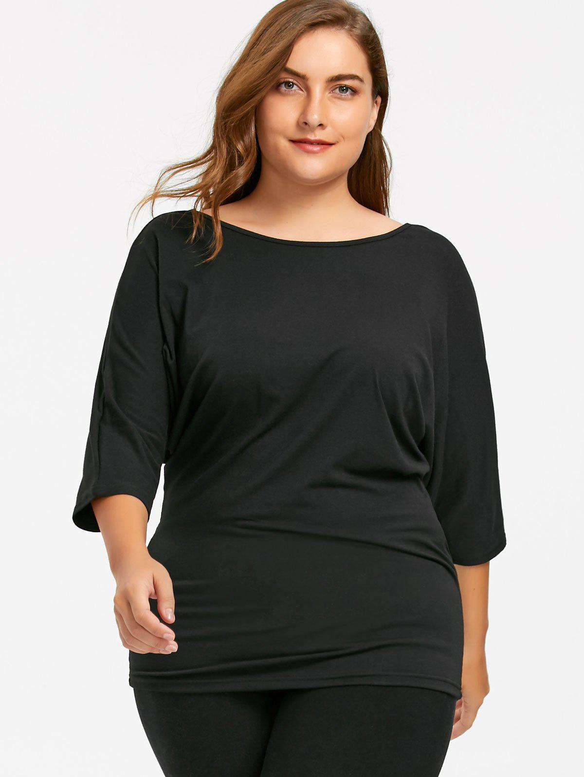 Plus Size Back Lace Crochet Batwing T-shirt - BLACK XL