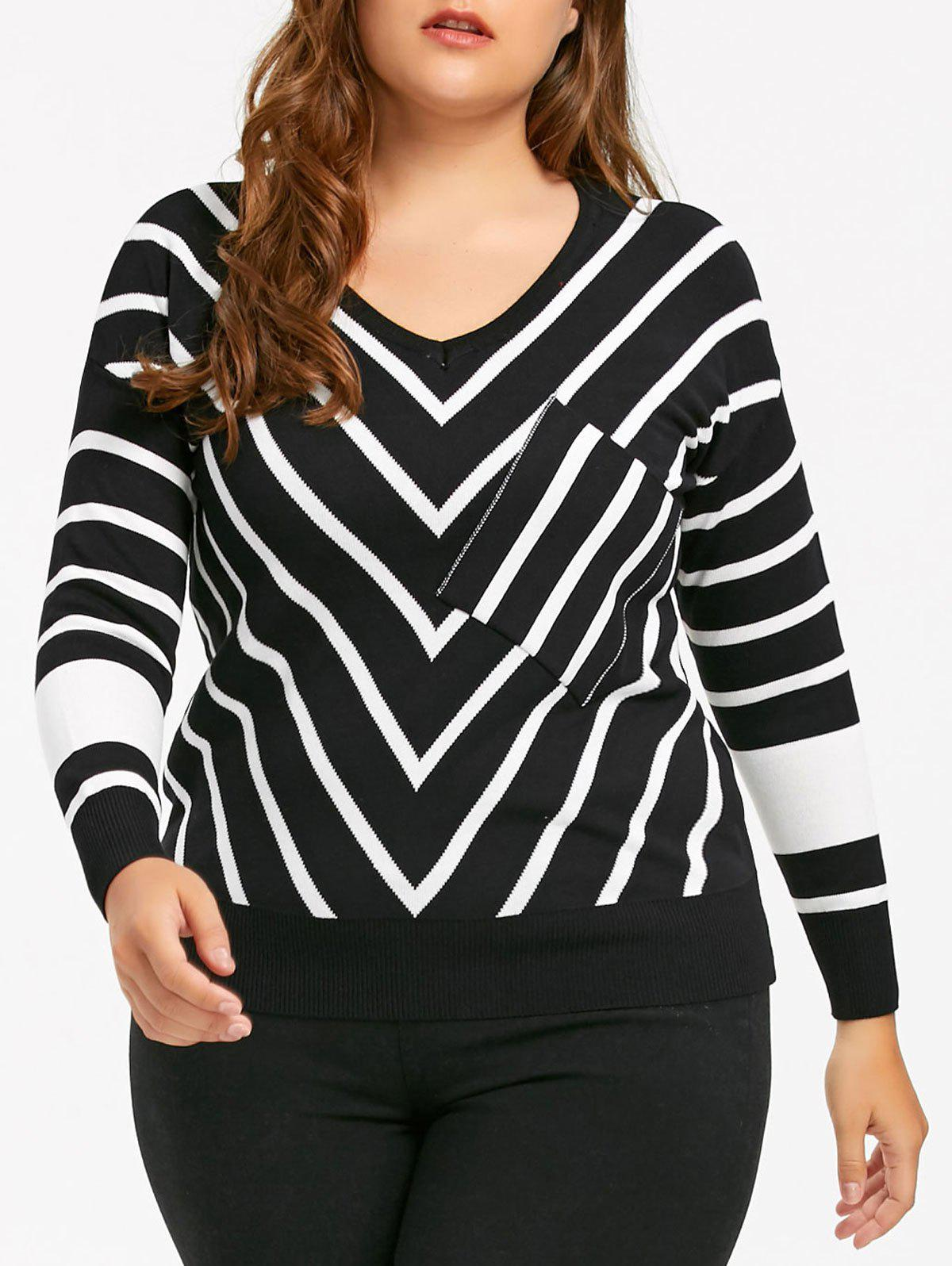 Plus Size V Neck Striped Knit Sweater - BLACK 4XL