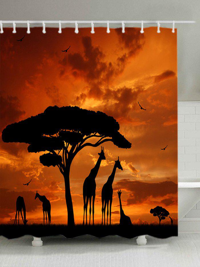 Sunset Prairies Giraffes Print Fabric Waterproof Shower Curtain - ORANGE W71 INCH * L71 INCH