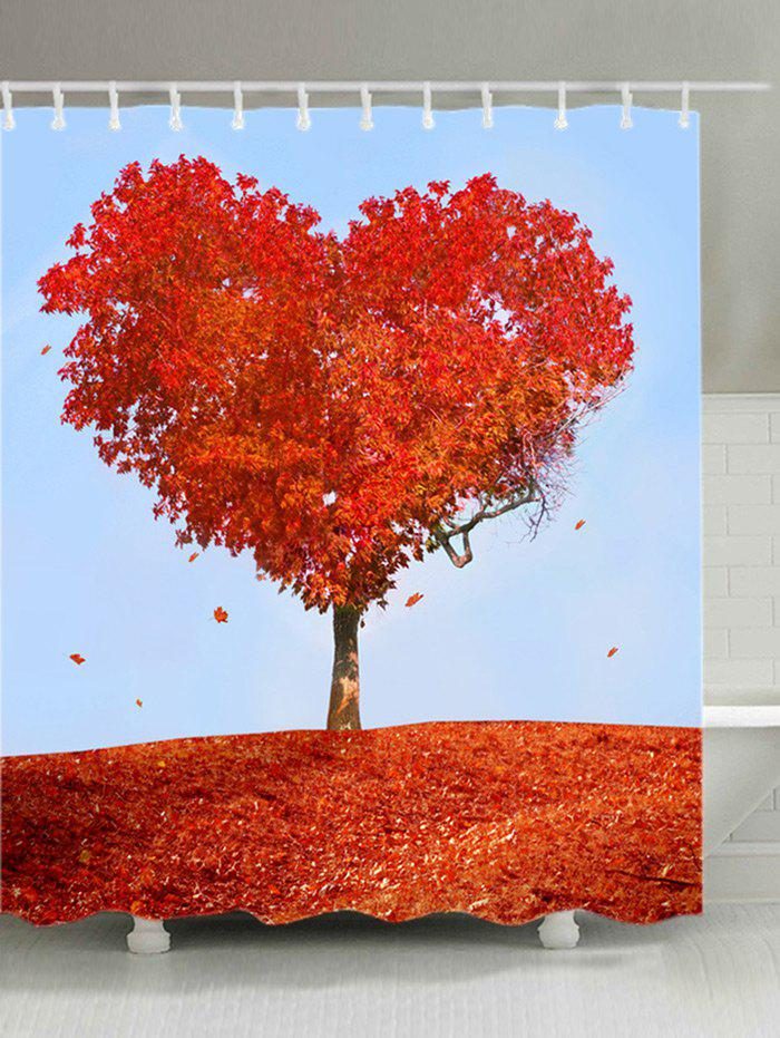 Heart Maple Tree Print Fabric Waterproof Shower Curtain - RED W71 INCH * L79 INCH