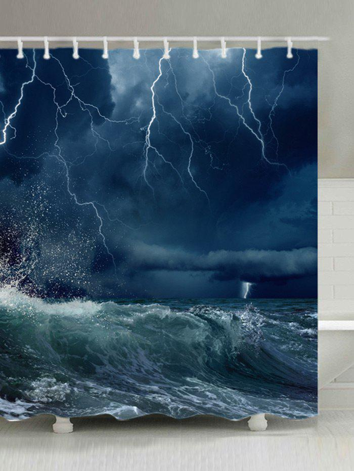 Lightning Ocean Wave Print Fabric Waterproof Shower Curtain - OCEAN BLUE W59 INCH * L71 INCH