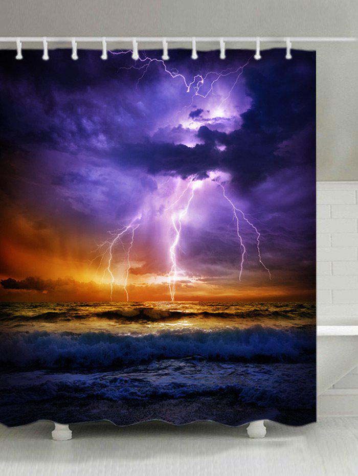 Lightning Ocean Print Fabric Waterproof Shower Curtain - COLORMIX W59 INCH * L71 INCH
