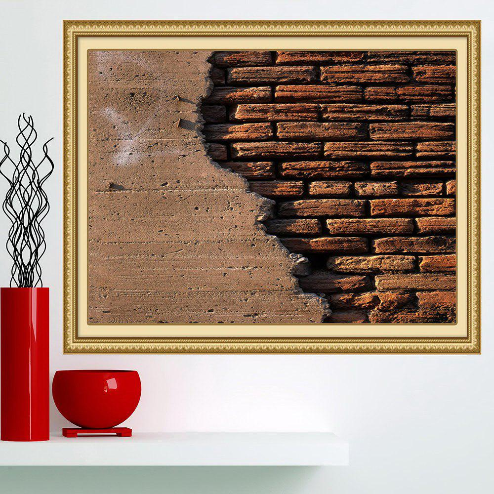 Broken Bricks Wall Printed Multipurpose Wall Art Painting - BROWN 1PC:24*24 INCH( NO FRAME )