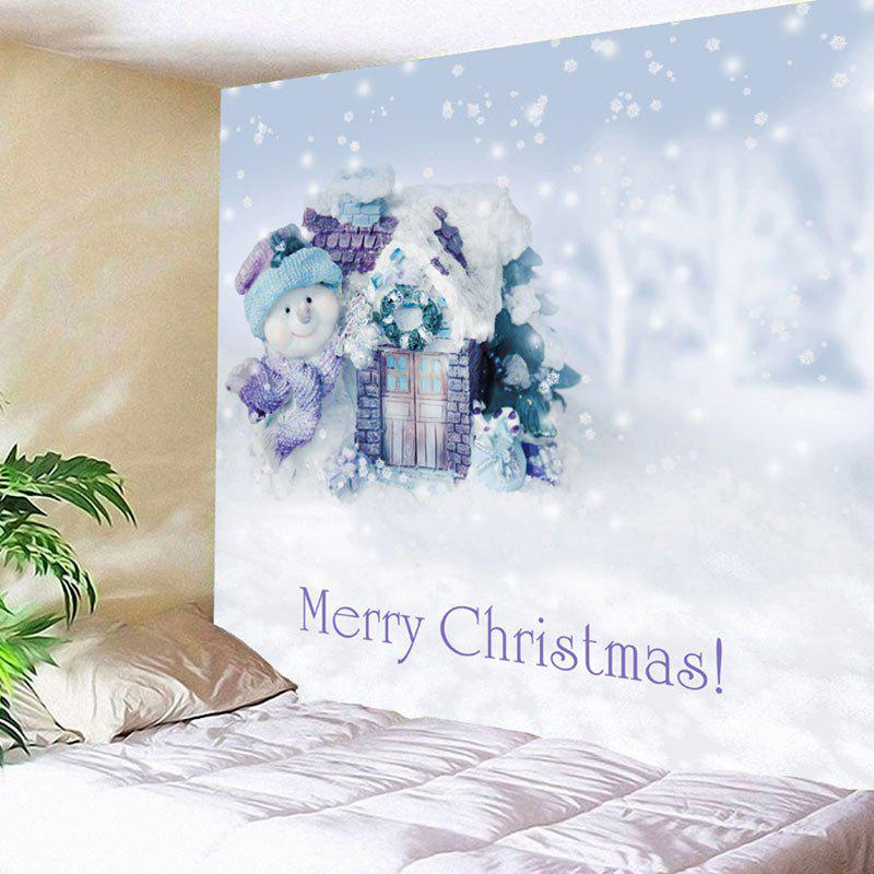 Merry Christmas Snowman Printed Wall Decor Tapestry christmas tree snowman printed wall tapestry