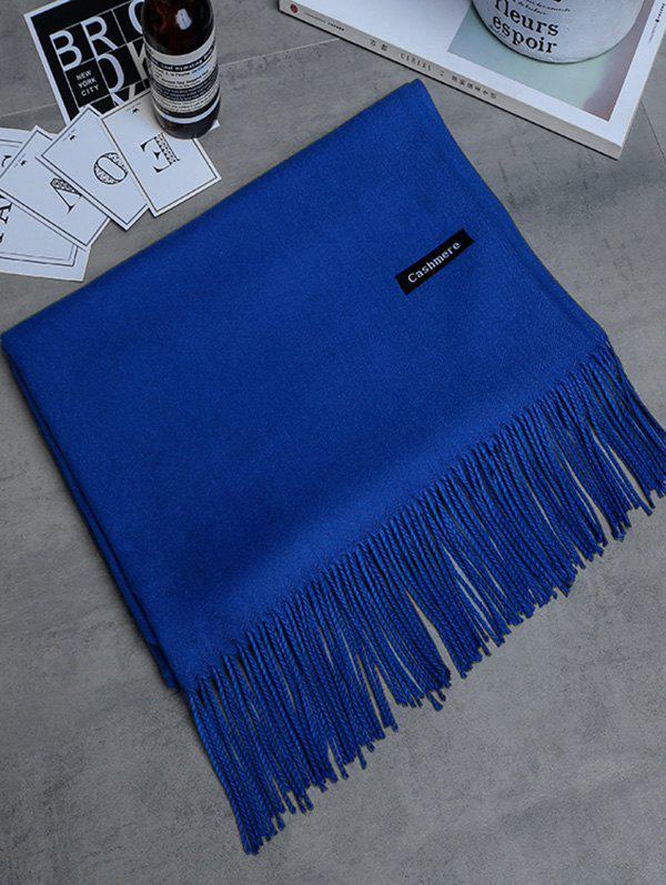 Vintage Faux Cashmere Blanket Scarf with Fringed Edge - ROYAL