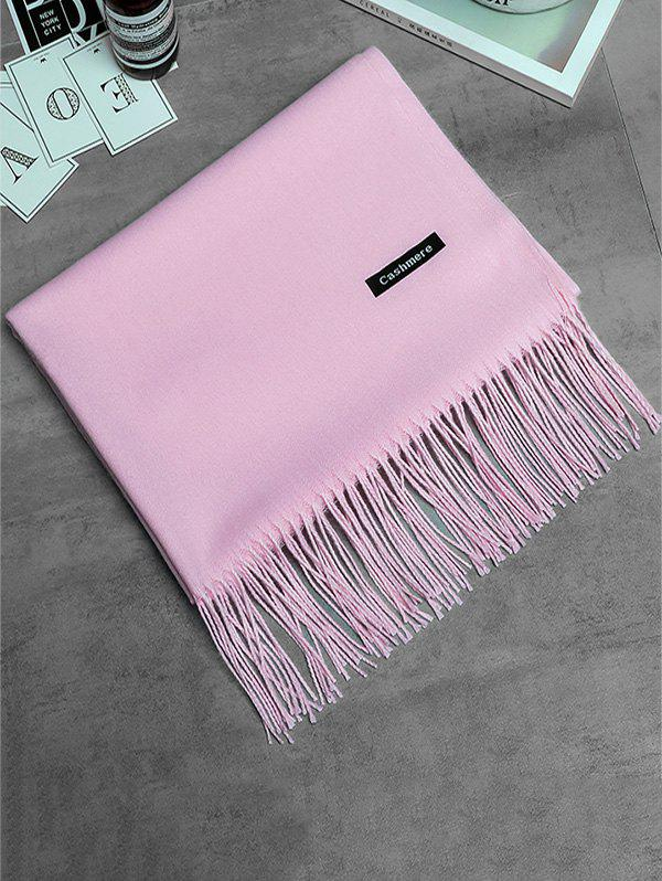 Vintage Faux Cashmere Blanket Scarf with Fringed Edge - PINK