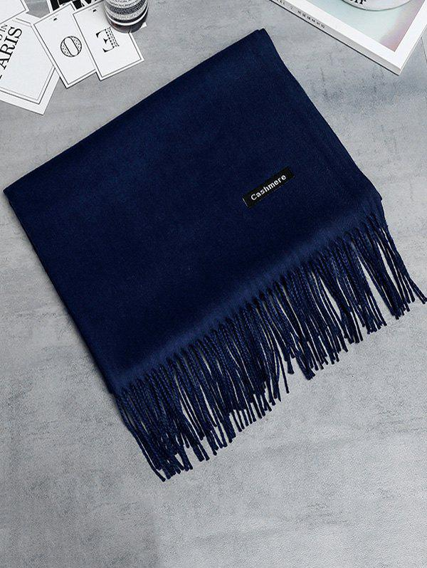 Vintage Faux Cashmere Blanket Scarf with Fringed Edge - CADETBLUE